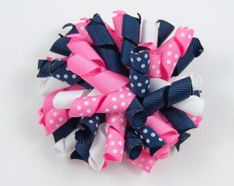 Pink and Navy Blue Hair Bow, Pink Navy Hair Bow, Pink Navy White Korker Bow, Pink Hair Bow, Pink and Navy Bow, Pink Curly Bow (Item #10312)