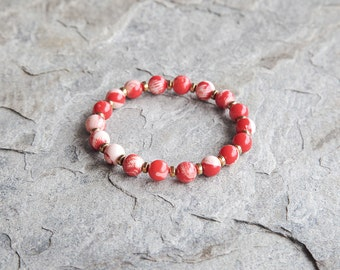 SALE 50% OFF! Red coral and gold plated accents beaded bracelet
