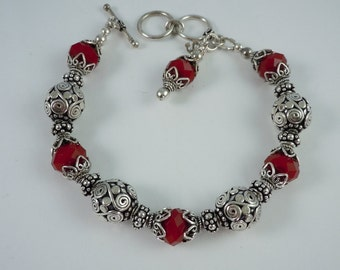 Sterling Silver Bali Bead and Ruby Quartz Bracelet