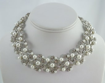 Victorian Style Pearl and Austrian Crystal Choker Bridal Necklace and Earring Set, Wedding Necklace Set