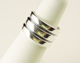 Size 5 Sterling Silver Wide Triple Ridge Band Ring