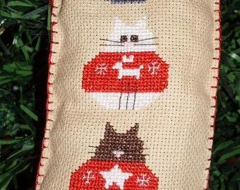 Christmas Cats, cross stitch chart