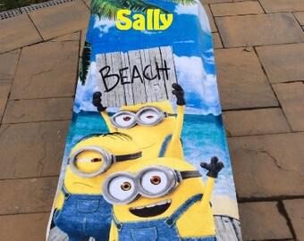 Minions Beach Towel Personalized