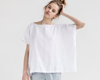 Oversized linen summer top / Square linen top / Washed linen blouse