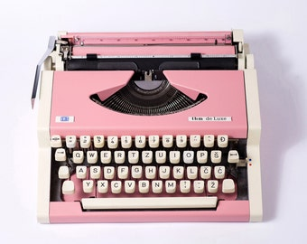 Vintage Typewriter Wedding decoration Pink Bridal gift, girl's room decor, blush, Olympia Traveller De Luxe,  Portable Manual typewriter