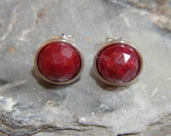 Ruby Stud Earrings Dyed Ruby Studs Ruby Earrings Sterling Silver 8mm