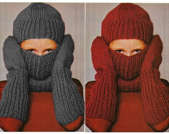 Balaclava Knitting Pattern Straight Needles : Instant Download Knitting Pattern - Knit Hat Knitting Pattern - Knit Hat Patt...