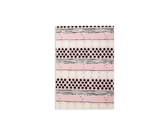 """Illustrated Notebook 100 lined sheets - A5 14.8cmX21cm (5.8"""" X 8.3"""")  Shapes pattern in Pink Black and White Lined notepads"""