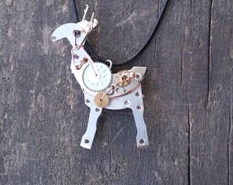 Steampunk necklace Elk Steampunk moose Horse pendant Steampunk pendant Animal steampunk Recycled watch parts Steampunk charm Assemblage