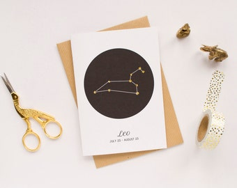 Leo Card / Constellation Card / Star Sign Card / Leo Zodiac Sign / Leo Birthday Card / Star Sign Constellation / Leo Astrology Card