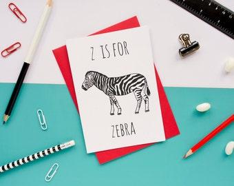 Zebra Card Animal Alphabet Card / Animal Alphabet / Blank Greeting Card / Notecard / Animal Card / Zebra Birthday Card