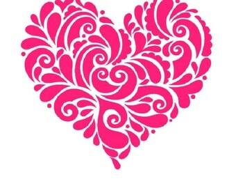 Valentines Heart  Iron on Transfer personalized custom iron on t shirt -pink-orange-purple