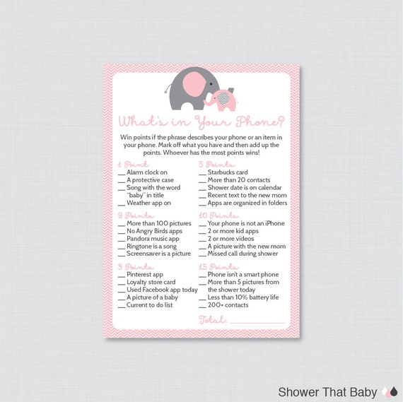 elephant baby shower what 39 s in your phone game printable phone raid