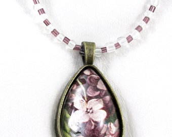 Beaded Necklace, Glass Pendant, Pendant Necklace,  Floral Pendant, Beaded Chain Necklace, Beaded  Necklace