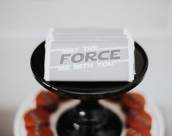 Space/Star Wars 'May the Force be with you' Candy Bar wrappers | Digital file