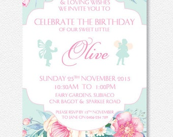 Pink and Mint Garden Flower Fairy invitation |  Personalised Digital file