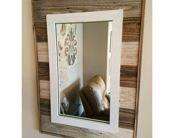 Rustic Slat Mirror w/outside Edge