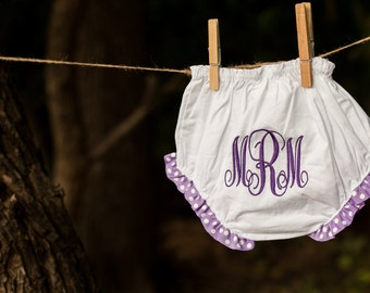 Monogrammed Ruffle Diaper Cover