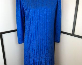 Silk Vintage Dress, Bright Blue Dress, Long Sleeve Dress, Mary Dadas, Large