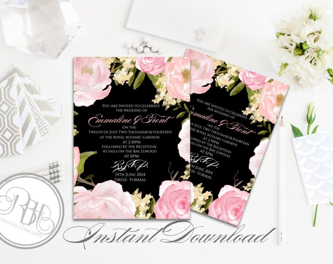 "Elegant Watercolor Wedding Invitation Template-INSTANT DOWNLOAD-5x7 PDF Editable Text-Watercolor Pink Peonies-""Juliet-Nadine pink/black"""