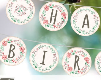Printable BIRTHDAY BANNER with floral wreaths. Floral birthday banner in pink and mint. Instant download party banner.