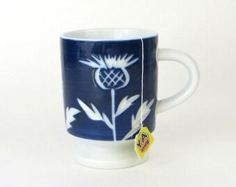 Vintage etched flower pedestal mug