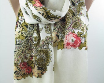 Floral Scarf Black Cream Scarf Shawl Fall Winter Scarf Women Fashion Accessories Holiday Gift Christmas Gifts For Her Gift For Women Mom