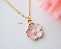Cherry blossom pendant necklace in gold, Sakura necklace, pink flower, Everyday necklace, Wedding necklace