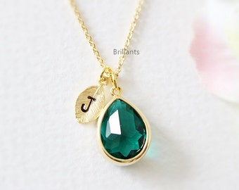 Personalized Green Stone necklace in gold, Emerald green necklace, Initial necklace, Bridesmaid set, Bridesmaid gift