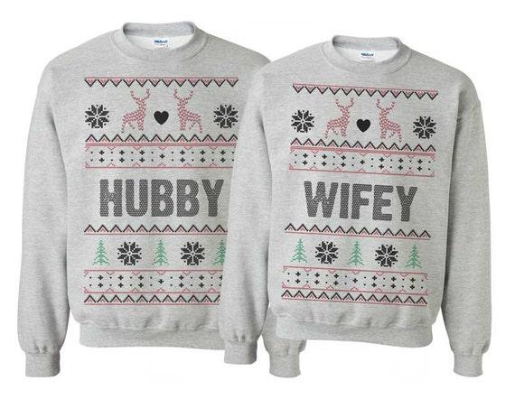 Tacky Couples Sweatshirts Winter Wedding Gift Hubby Wifey