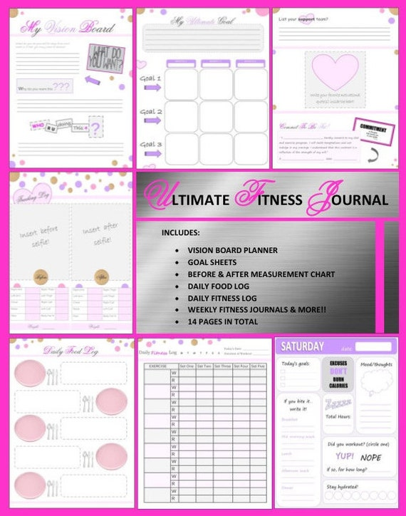 PRINTABLE Health and Fitness Journal / Fitness Planner.