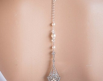 Bridal Backdrop Necklace Swarovski Pearls,Crystals statement Wedding Necklace,Gold or Silver Statement Necklace Back Drop Bridal Jewelry