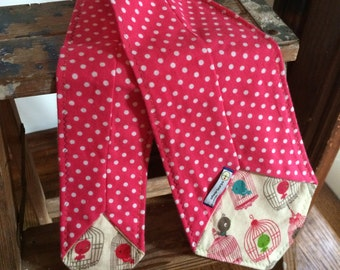 Flannel Scarf Tie - Hot Pink dots & Bird cages Youth Super Soft custom, Winter fashion neck scarf