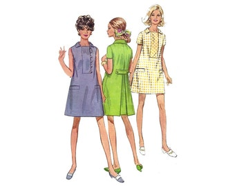 Vintage 60s Simplicity 7634 Sewing Pattern Misses A-line Dress with Inverted Back Pleat Collar Loop and Button Closure sz 12 Bust 34