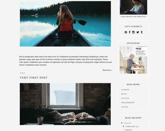 """Responsive Blogger Template """"Days of Louie"""" / Instant Digital Download Premade Blog Theme Design"""