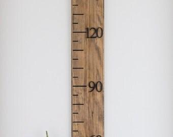 Growth Chart, ruler, timber, height chart, metric, walnut stain, narrow width, customizable options, keepsake, milestone