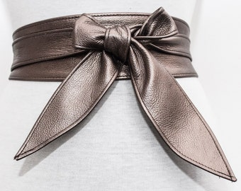 Antique Gold Leather Tulip tie Obi Belt | Gold Belt | Bridesmaid Sash | Waist corset Belt | tie belt | Real Leather wrap Belt | plus size
