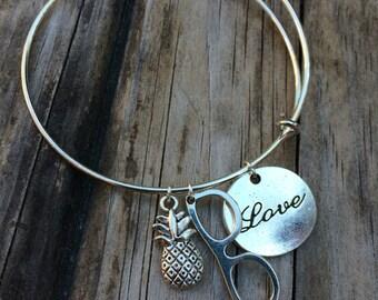 Pineapple bracelet, Love Bracelet, Glasses Bracelet, Charm Bangle, Charm bracelet, California Bracelet