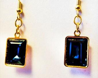 1188 - Blue crystal earrings, blue crystal jewelry, blue crystal, Swarovski crystal, Montana blue, crystal cabochon, dangle earrings