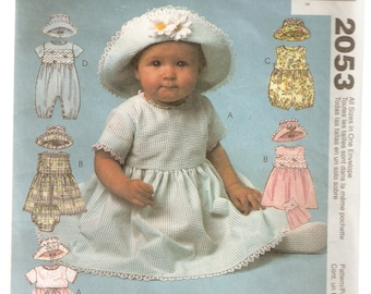 McCall's Sewing Pattern 2053 - Children's Clothes - Infant Dress, Romper, Hat & Panties, Size