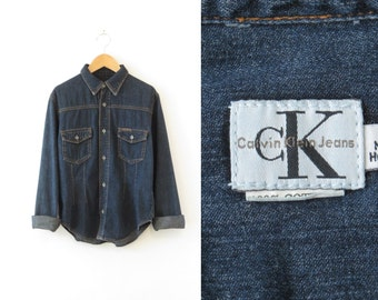 Denim Shirt Calvin Klein Chambray Shirt Womens Western Shirt Button Down Dark Blue Jean Shirt Dark Denim Shirt Button Up Shirt Blouse XXS