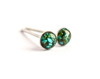4mm Turquoise Stud Earrings. Tiny Turquoise Studs. Tiny Turquoise Earrings. Turquoise Studs Turquoise Stone Earrings Turquoise Post Earrings