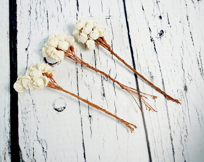 Sola Flowers diy bouquet floral supply natural flowers rustic 30 pcs rose bud stemmed on wire