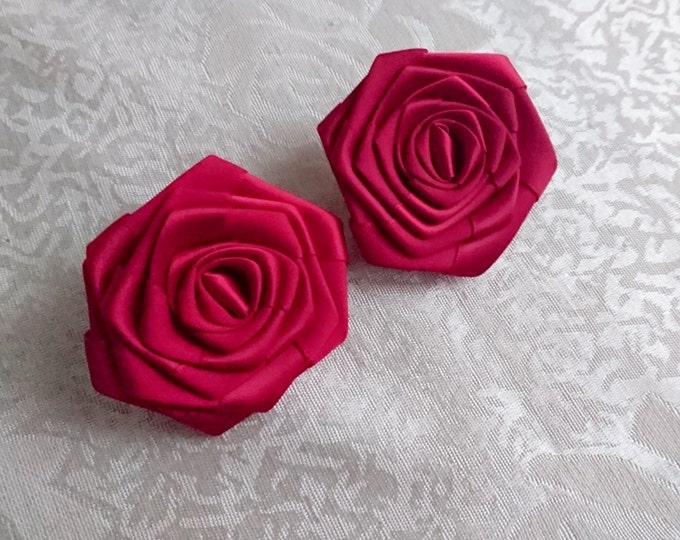 Handmade rose satin shoes clips in dark red wedding prom