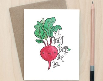 My Heart Beets For You - A2 Greeting Card