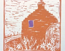 ORKNEY CROFT LINOCUT - Scotland Art - Handmade Cottage Lino Print - Daisy - Orange