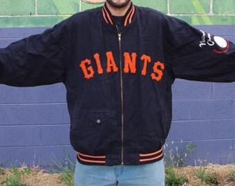 90's new york giants 1951 replica orange black baseball team jacket size 2xl
