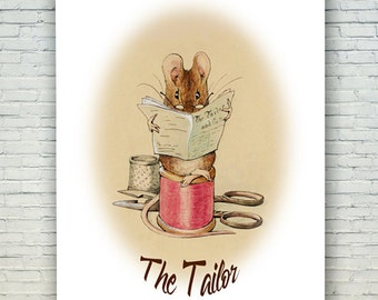 "Instant Download Beatrix Potter ""The Tailor,""Beatrix Potter Printable, Nursery Art, Children's Art, Printable Fairy Tale Art, Instant Art"