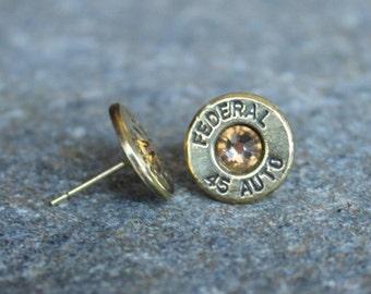 Bullet Earrings - Bullet Jewelry - Gold Earrings - Gift For Her - Gold Stud Earrings - Topaz Earrings - November Birthstone