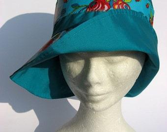 women hat, rain, impermeabile,  flowers design